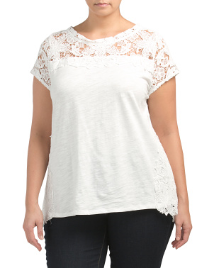 Plus Short Sleeve Top With Lace Detail