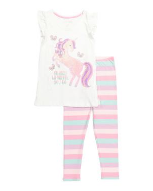 Girls 2pc Unicorn Striped Legging Set
