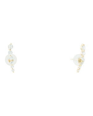 14k Gold Cz Crawler Earrings