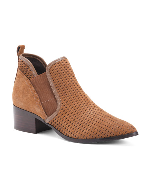 Waxy Suede Ankle Booties