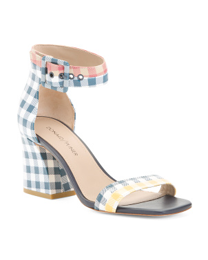 Printed Leather Ankle Strap Heeled Sandals