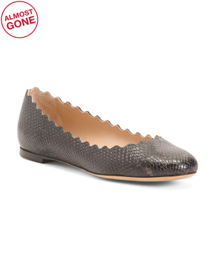 Made In Italy Python Embossed Leather Scalloped Flats