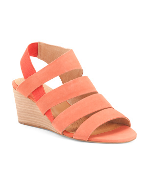 Suede Memory Foam Comfort Stacked Wedge Sandals