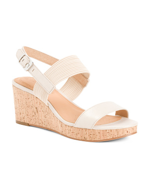 Memory Foam Comfort Leather Wedge Sandals