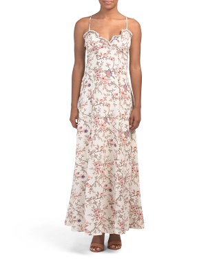 Floral Print Bubble Crepe Maxi Dress