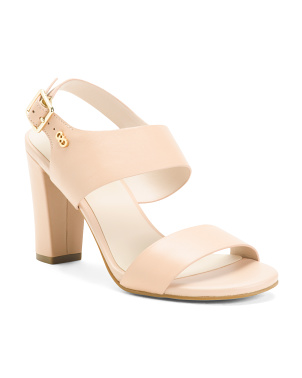 Premium Leather Ankle Strap Heeled Sandals