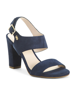 Suede Ankle Strap Heeled Comfort Sandals