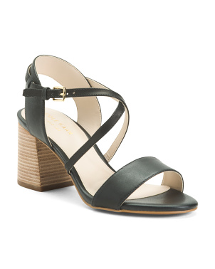 Leather Stacked Heel Comfort Sandals