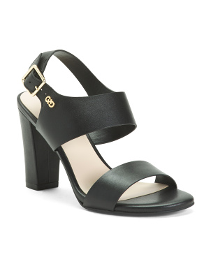 Leather Ankle Strap Heeled Sandals