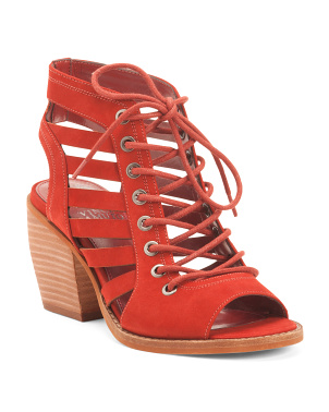 Suede Lace Up City Sandals