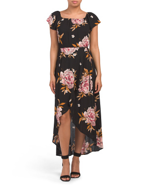 Juniors Floral Hi Lo Maxi Dress