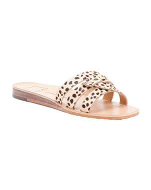 Haircalf Square Toe Slide Sandals