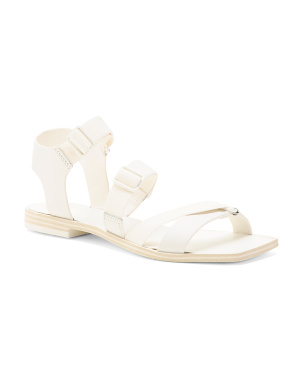 Sporty Square Toe Leather Sandals