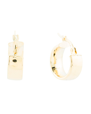 Made In Italy 14k Gold Thick Huggie 10mm Hoop Earrings