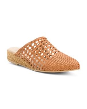 Made In Spain Woven Leather Pointy Toe Espadrilles