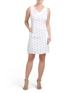 Made In Italy Embroidered Dot Linen Dress