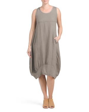 Made In Italy Linen Midi Dress
