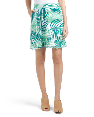 Palm Printed Linen Skirt