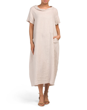 Made In Italy Linen Cowl Neck Midi Dress
