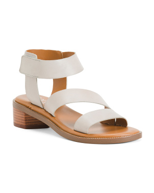 Stacked Heel Ankle Strap Leather Sandals