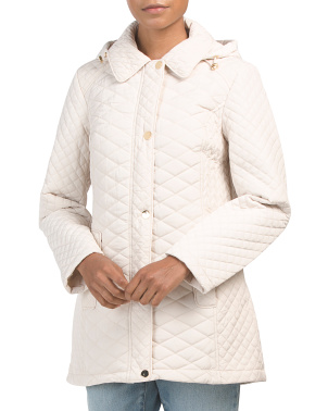 Long Quilted Jacket With Hood