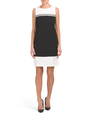 Made In Italy Color Block Crepe Dress