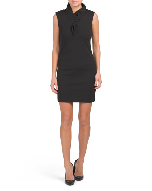 Made In Italy Faux Tie Front Crepe Sheath Dress