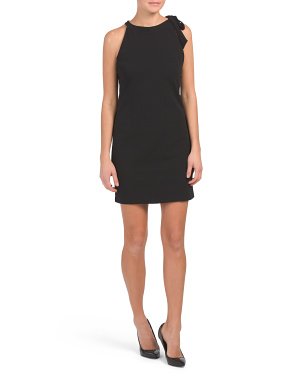 Made In Italy Tie Halter Neck Crepe Dress
