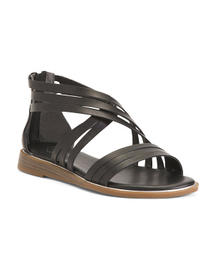 Strappy Wedge Leather Sandals