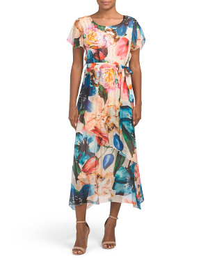 Made In Italy Tropical Print Silk Blend Dress