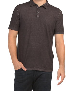 Short Sleeve Polo In Gunpowder Wash