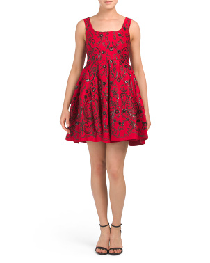 Petite Embroidered Sequins Party Dress