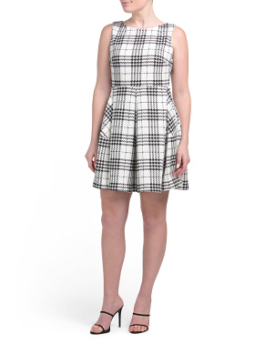 Petite Sleeveless Plaid Dress With Party Skirt