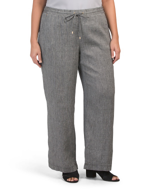 Plus Linen Blend Elastic Pants