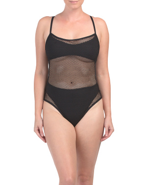 Made In Usa Fishnet One-piece Swimsuit