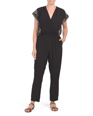 2 Pocket Woven Jumpsuit Cover-up