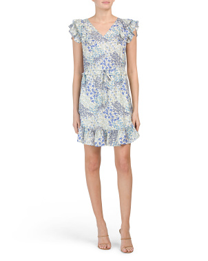 Ava Floral V-neck Silk Dress