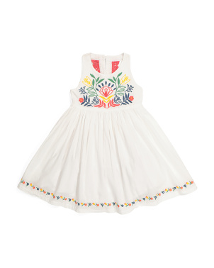 Toddler Girls Boho Embroidered Dress