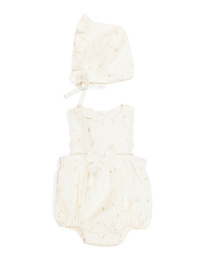 Newborn Scalloped Bubble Romper & Bonnet