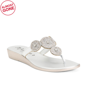 Made In Italy Jeweled Thong Sandals