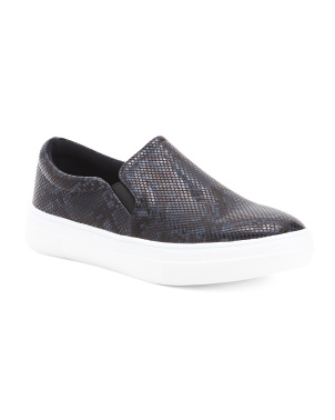 Snakeskin Embossed Slip On Sneakers