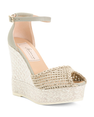 Made In Spain Open Toe Leather Wedge Espadrilles
