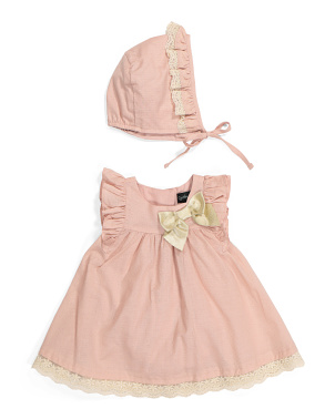 Baby Girls Lace Trim Bubble Romper & Bonnet