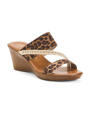 Made In Italy Animal Print Double Strap Wedge Sandals