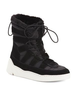Nylon Suede High Top Sneakers
