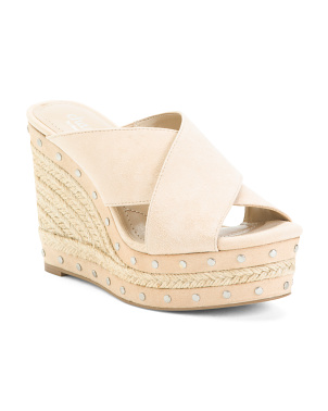 Suede Cross Strap Studded Espadrille Sandals