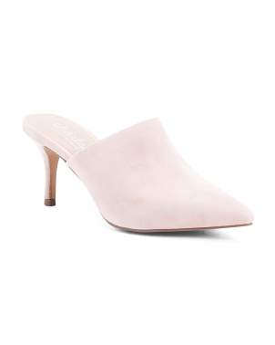 Suede Pointy Toe Stiletto Heel Mules