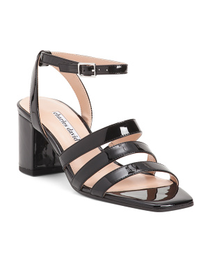 Square Toe Ankle Strap Leather Sandals