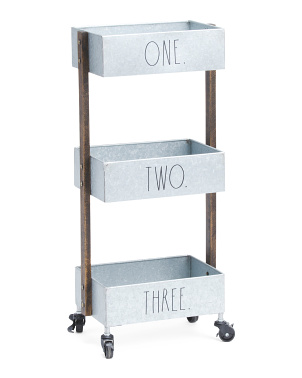 Galvanized Metal Caddy With Wheels