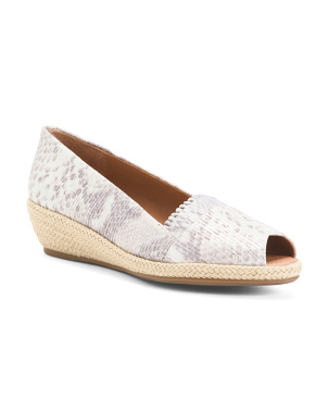 Comfort Leather Espadrille Demi Wedge Sandals